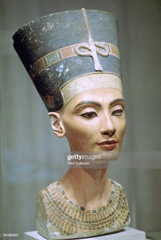Limestone head of Queen Nefertiti wife of Akhenaten from El Amarna Egypt Now in the Egyptian Museum Berlin