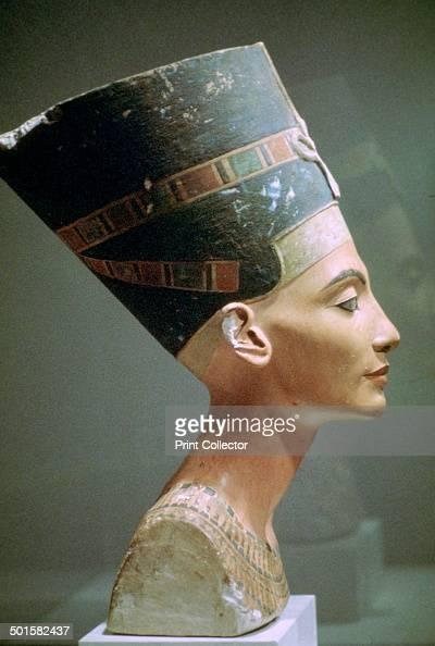 Limestone head of Queen Nefertiti wife of Akhenaten from El Amarna Egypt Now in the Egyptian Museum Berlin