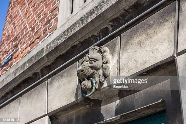 Limestone lion head on the old town hall, Nyborg, Denmark