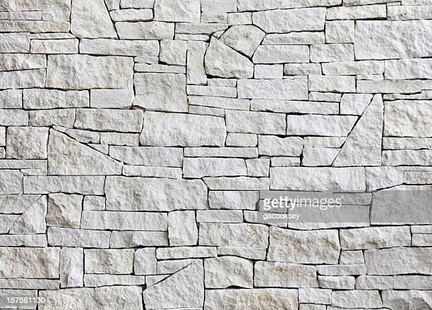 Pared de piedra caliza-Vista de frente; muchos cuadras
