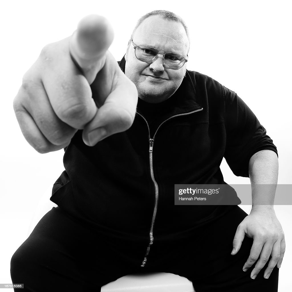 This image has been converted to black and white) MEGA Limited founder, <a gi-track='captionPersonalityLinkClicked' href=/galleries/search?phrase=Kim+Dotcom&family=editorial&specificpeople=8806663 ng-click='$event.stopPropagation()'>Kim Dotcom</a> poses during a portrait session at the Dotcom Mansion on April 26, 2013 in Auckland, New Zealand. MEGA Limited this year launched cloud storage service 'Mega.co.nz', the successor to the controversial file sharing service 'Megaupload.com' shut down by the US Department of Justice in January 2012.