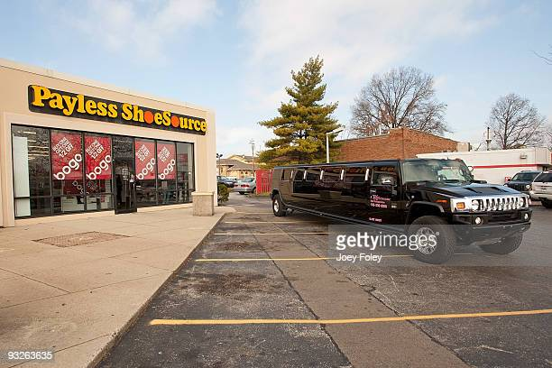 A limo leaving the store lot with happy Children with new shoes at Payless ShoeSource on November 20 2009 in Cincinnati Ohio