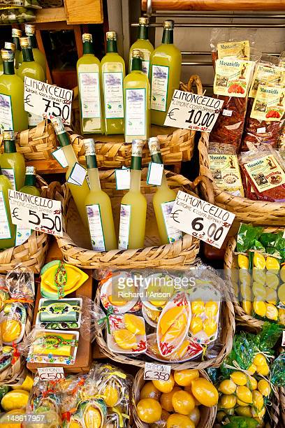 Limoncello and foodstuffs for sale displayed outside shop, Amalfi Coast.