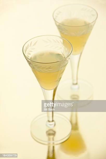Limoncello liqueur in two glasses