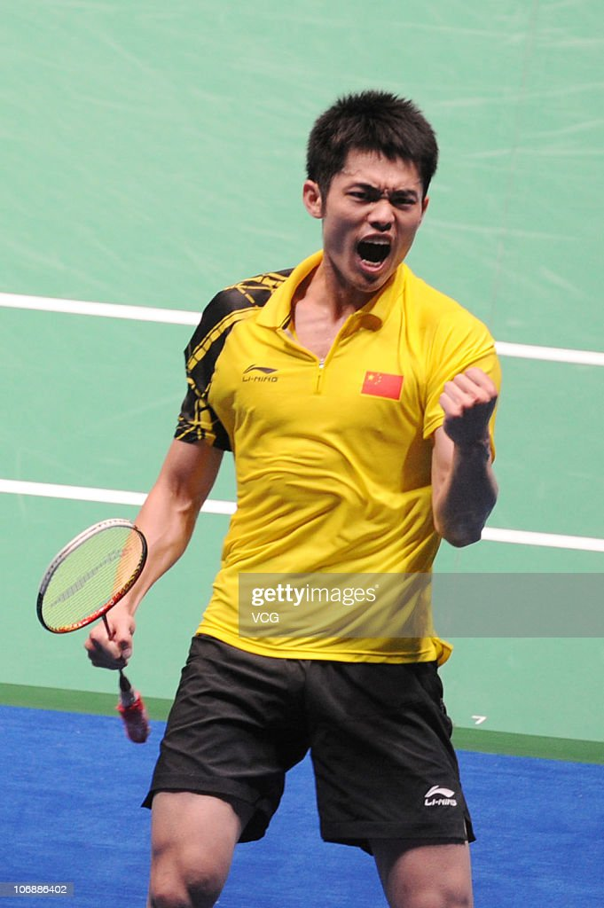 <a gi-track='captionPersonalityLinkClicked' href=/galleries/search?phrase=Lin+Dan&family=editorial&specificpeople=211013 ng-click='$event.stopPropagation()'>Lin Dan</a> of China celebrates after defeating Sunghwan Park of South Korea during the men's team badminton final at Tianhe Gymnasium during day three of the 16th Asian Games Guangzhou 2010 on November 15, 2010 in Guangzhou, Guangdong Province of China.