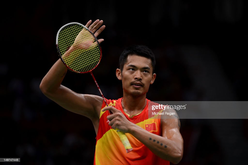 <a gi-track='captionPersonalityLinkClicked' href=/galleries/search?phrase=Lin+Dan&family=editorial&specificpeople=211013 ng-click='$event.stopPropagation()'>Lin Dan</a> of China celebrates winning the Men's Singles Badminton Semi-Final against Hyun Il Lee of Korea on Day 7 of the London 2012 Olympic Games at Wembley Arena on August 3, 2012 in London, England.
