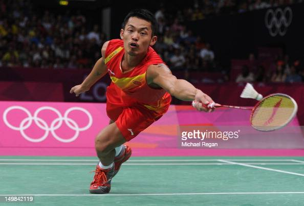 Lin Dan of China competes in his Men's Singles Badminton Gold Medal match against Chong Wei Lee of Malaysia on Day 9 of the London 2012 Olympic Games...