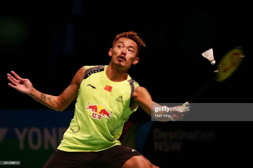 Lin Dan Of China Competes In The Mens Singles Final Against Simon Santoso Indonesia During