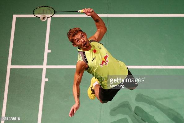 Lin Dan of China competes in the Mens Singles Final against Simon Santoso of Indonesia during the Australian Badminton Open at Sydney Olympic Park...