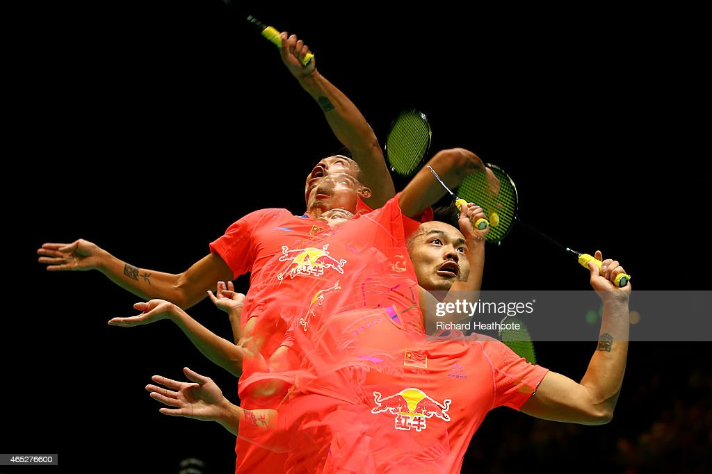 <a gi-track='captionPersonalityLinkClicked' href=/galleries/search?phrase=Lin+Dan&family=editorial&specificpeople=211013 ng-click='$event.stopPropagation()'>Lin Dan</a> of China in action as he beats Tian Houwei of China in the men's singles during day three of YONEX All England Open Badminton Championships at Birmingham Barclaycard Arena on March 5, 2015 in Birmingham, England.