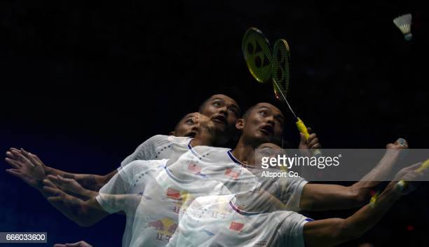 Lin Dan of China plays a return shot to Son Wan Ho of South Korea during the men's singles semifinal of the 2017 World BWF Super Series Malaysia Open...
