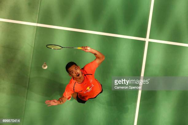 Lin Dan of China plays a shot during his R16 match against Jonatan Christie of Indonesia during the Australian Badminton Open at Sydney Olympic Park...