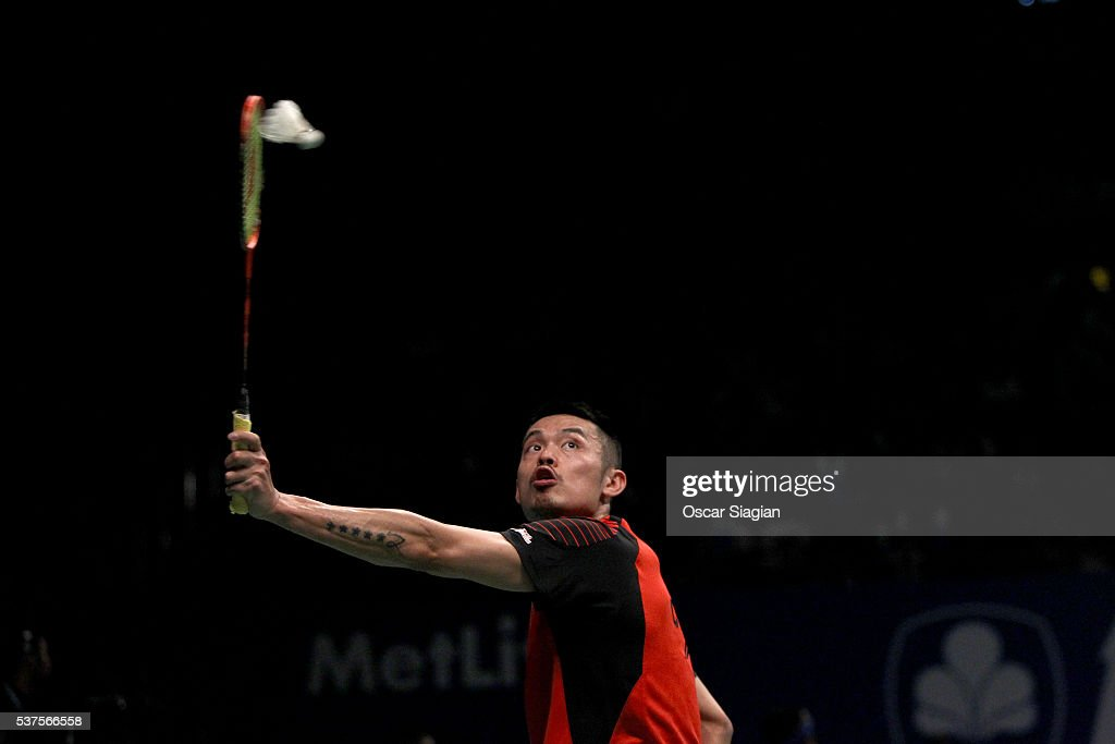 Lin Dan of China plays a shot during the 2016 Indonesia Open match against Jonatan Christie of Indonesia on June 2, 2016 in Jakarta, Indonesia.