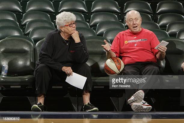 Lin Dunn head coach of the Indiana Fever and Mike Thibault head coach of the Connecticut Sun are seen prior to the start of Game Two of the East...
