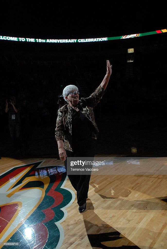<a gi-track='captionPersonalityLinkClicked' href=/galleries/search?phrase=Lin+Dunn&family=editorial&specificpeople=592589 ng-click='$event.stopPropagation()'>Lin Dunn</a>, Head Coach of the Seattle Storm, is recognized before the game against the Indiana Fever on July 31,2014 at Key Arena in Seattle, Washington.