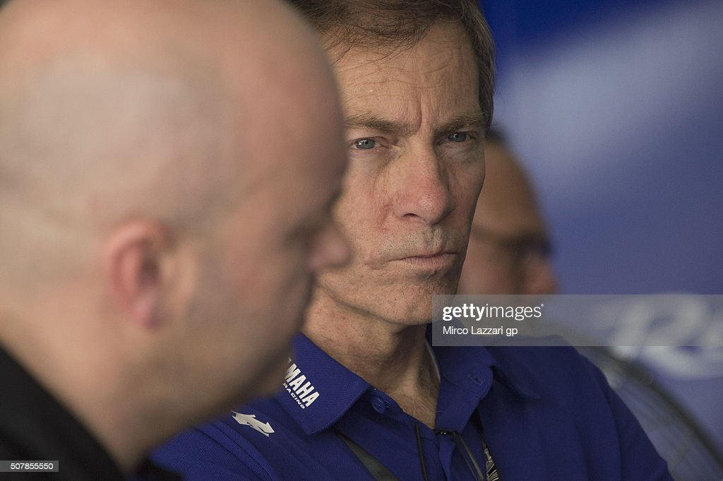 <a gi-track='captionPersonalityLinkClicked' href=/galleries/search?phrase=Lin+Jarvis&family=editorial&specificpeople=6489029 ng-click='$event.stopPropagation()'>Lin Jarvis</a> of Britain and Yamaha Factory Team looks on in box during the MotoGP Tests In Sepang at Sepang Circuit on February 1, 2016 in Kuala Lumpur, Malaysia.