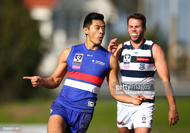 Lin Jong of the Footscray Bulldogs celebrates after kicking a goal during the round 10 VFL match between the Footscray Bulldogs and the Geelong Cats...