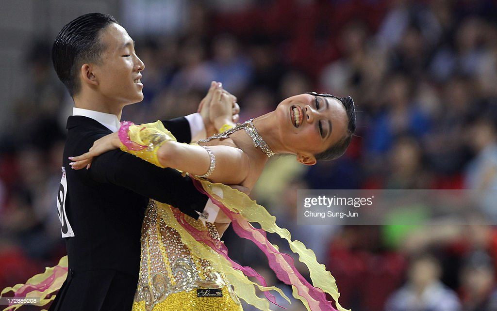 Lin Li and partner Chen Ya Yen of Chinese Taipei compete in the Dancesport- Standard Five Dances Viennese Waltz Final at Samsan World Gymnasium during day seven of the 4th Asian Indoor & Martial Arts Games on July 5, 2013 in Incheon, South Korea.