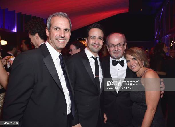 Lin Manuel John Molner Salman Rushdie and Katie Couric attend the 2017 Vanity Fair Oscar Party hosted by Graydon Carter at Wallis Annenberg Center...