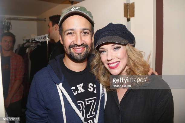 Lin Manuel Miranda and Emily Skinner pose backstage at the hit new musical 'Prince of Broadway' on Broadway at Manhattan Theatre Club's Samuel...