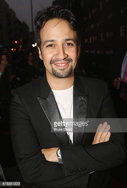 Lin Manuel Miranda poses at Premiere of PBS Documentary 'Great Performances Hamilton's America' at The United Palace Theater on October 17 2016 in...