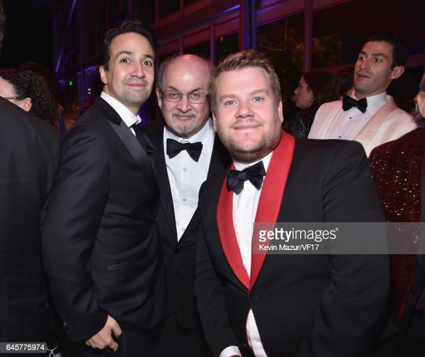 Lin Manuel Miranda Salman Rushdie and James Corden attend the 2017 Vanity Fair Oscar Party hosted by Graydon Carter at Wallis Annenberg Center for...