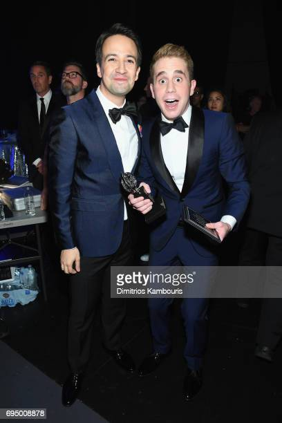 Lin ManuelMiranda and Ben Platt attend the 2017 Tony Awards Backstage Audience on June 11 2017 in New York City