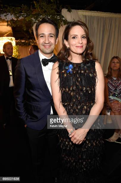 Lin ManuelMiranda and Tina Fey attend the 2017 Tony Awards at Radio City Music Hall on June 11 2017 in New York City