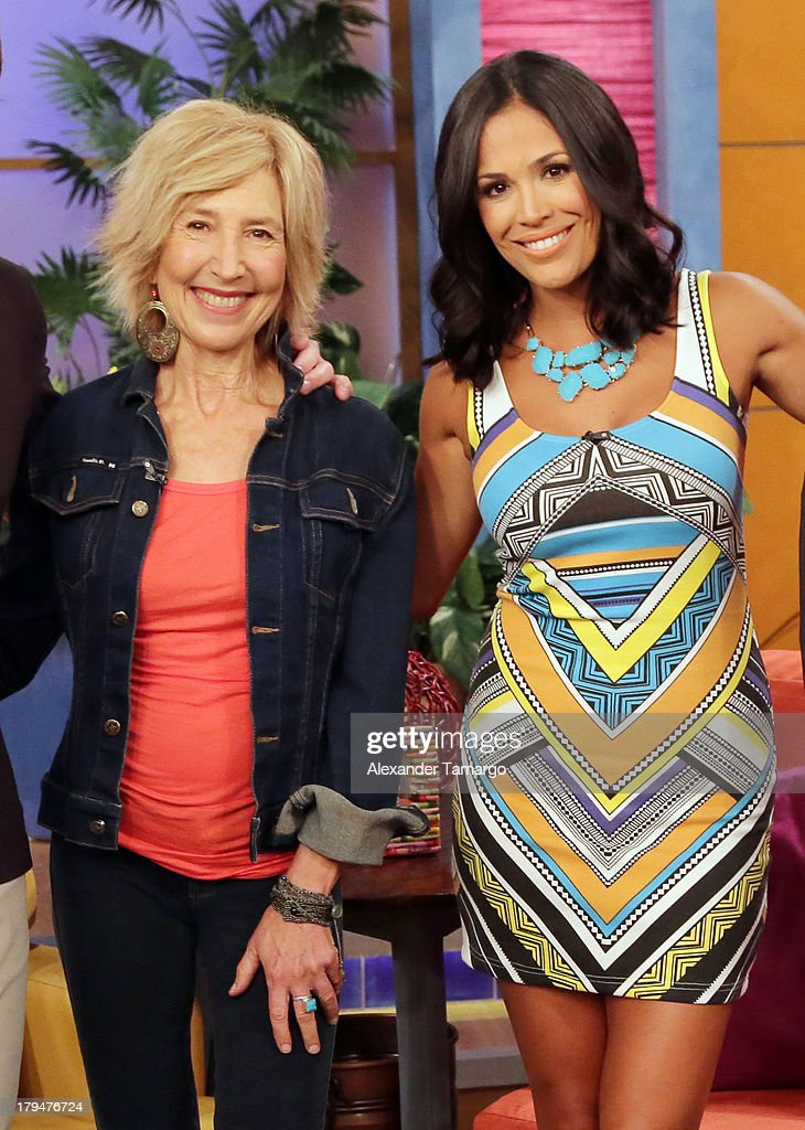 Lin Shaye and Karla Martinez during Univision's 'Despierta America' at Univision Headquarters on September 4, 2013 in Miami, Florida.