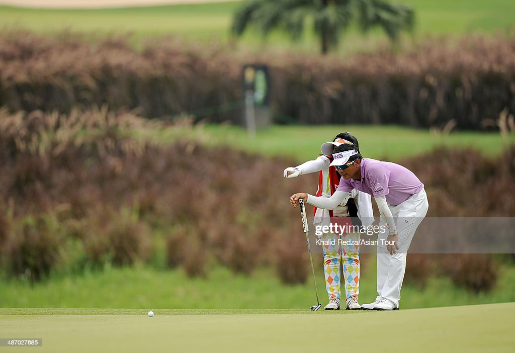 Lin Wen-tang of Chinese Taipei in action during round four of the CIMB Niaga Indonesian Masters at Royale Jakarta Golf Club on April 27, 2014 in Jakarta, Indonesia.
