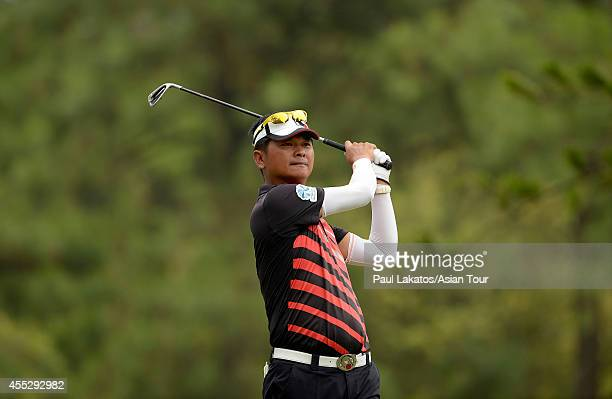 Lin Wentang of Chinese Taipei plays a shot during round two of the Yeangder Tournament Players Championship at Linkou lnternational Golf and Country...