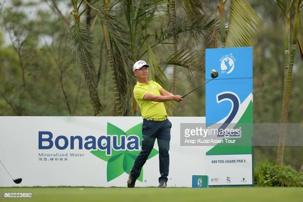 Lin Wentang of Taiwan pictured during practice ahead of the Macao Open at Macau Golf and Country Club on October 17 2017 in Macau Macau