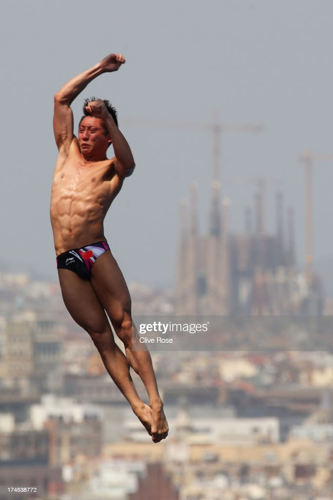 Lin Yue of China competes in the Men's 10m Platform Diving Semifinal round on day eight of the 15th FINA World Championships at Piscina Municipal de Montjuic on July 27, 2013 in Barcelona, Spain.