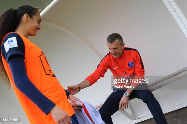 Lina Boussaha of PSG and Patrice Lair coach of PSG during the women's National Cup match between Paris Saint Germain PSG and AS Saint Etienne at Camp...