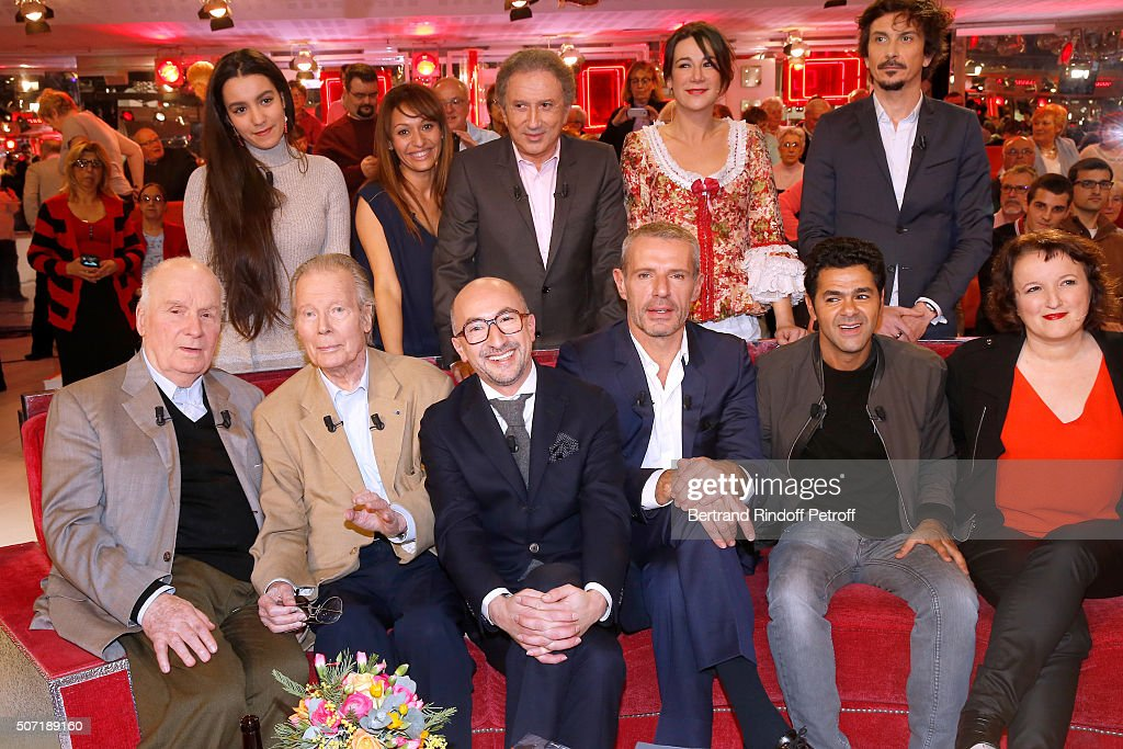 Lina Elarabi, Samia Sassi, Michel Drucker, Virginie Hocq, Arnaud Tsamere, (Front L-R) Main Guest of the show Actor Michel Bouquet, Jean Piat, Fatsah Bouyahmed, Lambert Wilson, Jamel Debbouze and Anne Roumanoff attend the 'Vivement Dimanche' French TV Show at Pavillon Gabriel on January 27, 2016 in Paris, France.