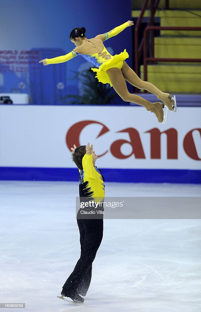 Lina Fedorova and Maxim Miroshkin of Russia skate in the Pairs Short Program during day 3 of the ISU World Junior Figure Skating Championships at Agora Arena on February 27, 2013 in Milan, Italy.