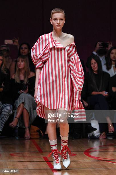 Lina Hoss walks the runway at the Monse fashion show during New York Fashion Week The Shows on September 8 2017 in New York City
