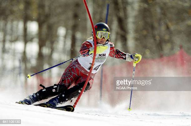 Lina Johansson of the University of Utah races to a first place finish in the women's slalom during the Division 1 Women's Skiing Championship held...