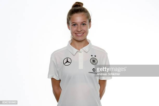 Lina Jubel poses during Germany U17 Girl's Team Presentation on August 20 2017 in Gruenberg Germany