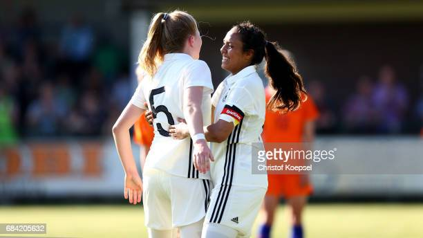 Lina Katharina Vianden of Germany celebrates the first goal with Gia Corley of Germany during the U15 girl's international friendly match between...