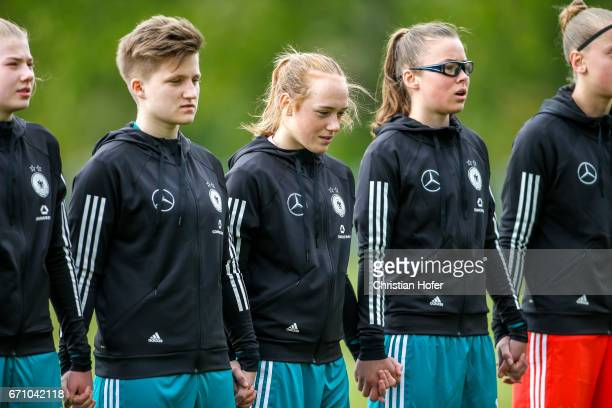 Lina Katharina Vianden Paula Augustine Helga Klensmann Lisanne Grawe and Julia Pollak of Germany line up during the national anthem prior to the...