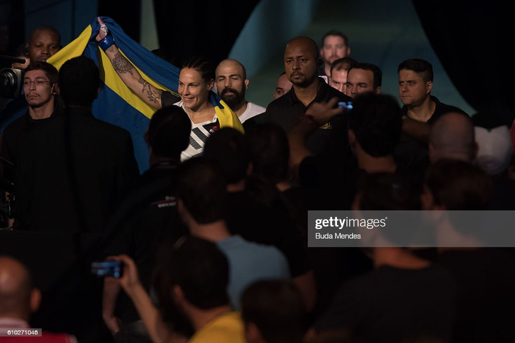 Lina Lansberg of Sweden enters the arena prior to her catchweight bout against Cris Cyborg of Brazil during the UFC Fight Night event at Nilson Nelson gymnasium on September 24, 2016 in Brasilia, Brazil.