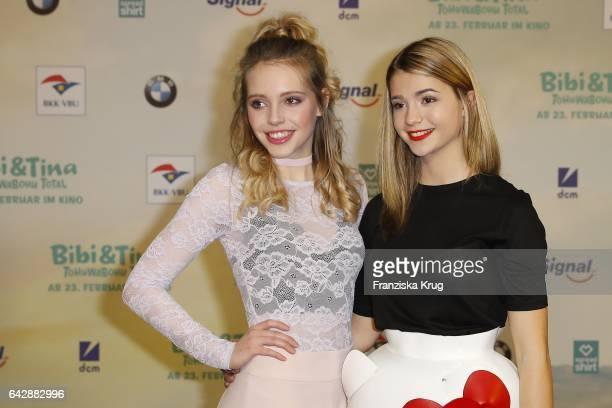 Lina Larissa Strahl and LisaMarie Koroll attend the German premiere of the film 'Bibi Tina Tohuwabohu Total' at Kino in der Kulturbrauerei on...