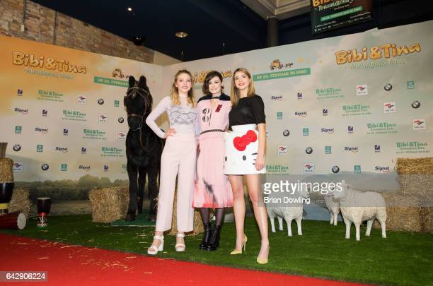 Lina Larissa Strahl Lea van Acken and Lisa Marie Koroll arrive at the German premiere of the film 'Bibi Tina Tohuwabohu Total' at Kino in der...
