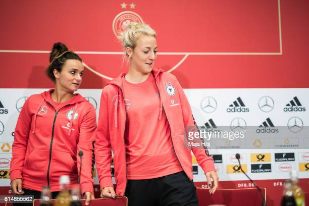 'SHERTOGENBOSCH NETHERLANDS JULY 15 Lina Magull and Carolin Simon arrive to a press conference of a Germany Women's team on July 15 2017 in...