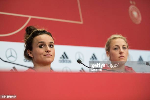 'SHERTOGENBOSCH NETHERLANDS JULY 15 Lina Magull and Carolin Simon listen to a question during a press conference of a Germany Women's team on July 15...