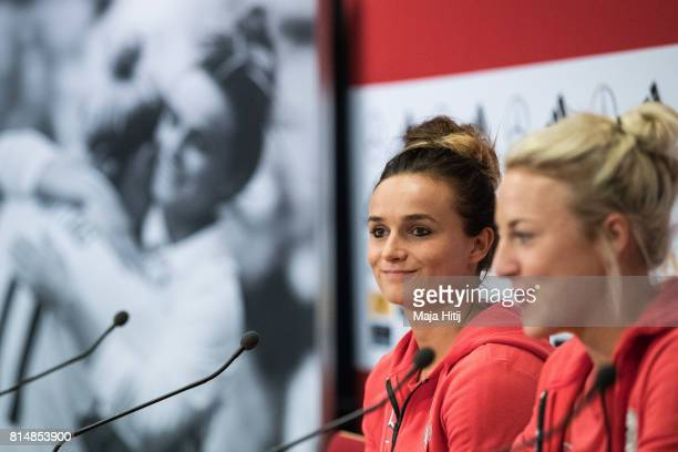 'SHERTOGENBOSCH NETHERLANDS JULY 15 Lina Magull and Carolin Simon speak during a press conference of a Germany Women's team on July 15 2017 in...