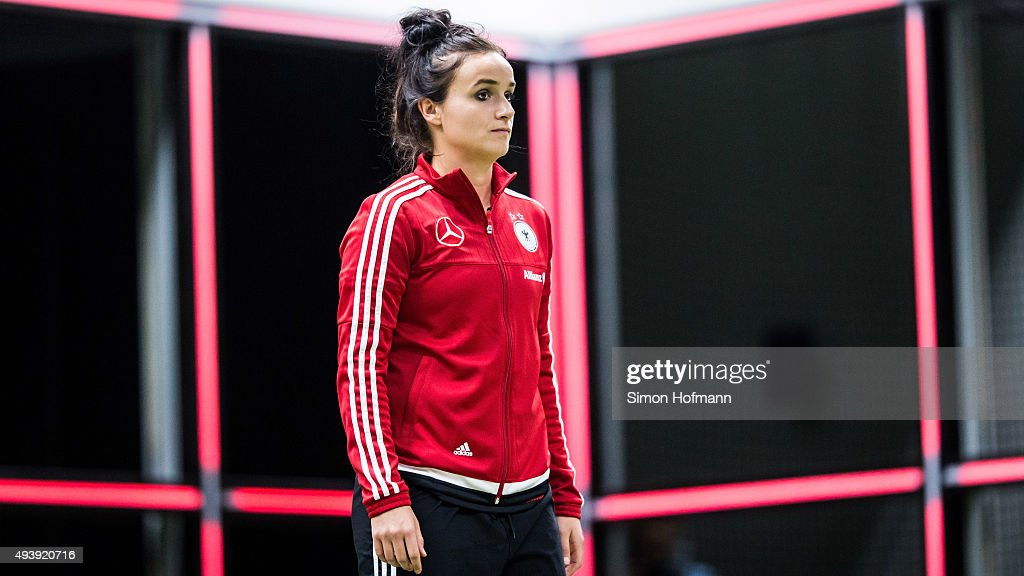 Lina Magull attends a Germany Women's Footbonaut Training Session at on October 23, 2015 in Zuzenhausen, Germany.