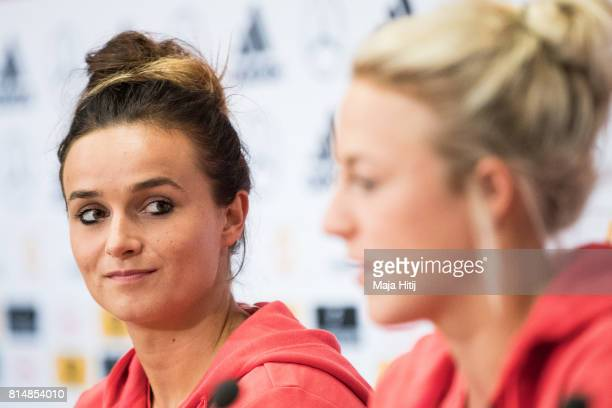 'SHERTOGENBOSCH NETHERLANDS JULY 15 Lina Magull looks on during a press conference of a Germany Women's team as Carolin Simon speaks on July 15 2017...