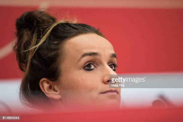'SHERTOGENBOSCH NETHERLANDS JULY 15 Lina Magull looks on during a press conference of a Germany Women's team on July 15 2017 in 'sHertogenbosch...